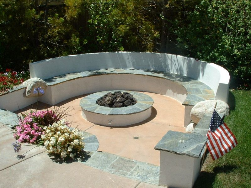 Sunken Fire Pit Area With Quartz Stucco Seat Wall And
