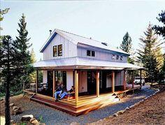 Cosy Metal Building Cabin w Wrap Around Porch HQ Plans &