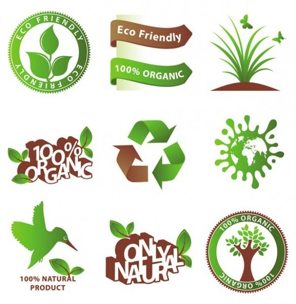 9 Natural Organic Green Vector Icons - http://www.dawnbrushes.com/9-natural-organic-green-vector-icons/