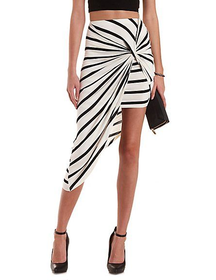 d5ca915cb2 Knotted & Striped Asymmetrical Skirt: Charlotte Russe. #stripes # asymmetrical #skirt