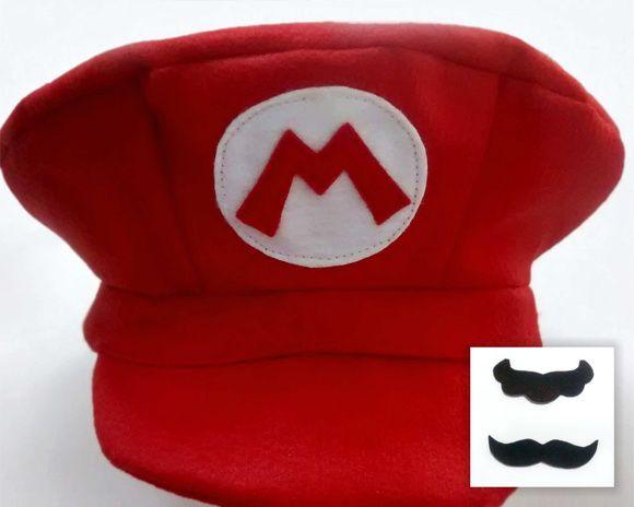 bda42ab8c8d74 Boina e bigode em feltro Mário Bros ou Luigi