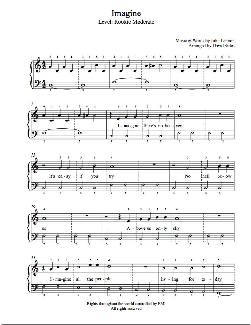 Imagine By John Lennon Piano Sheet Music In 2020 With Images