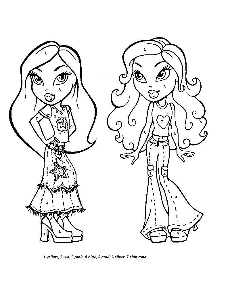 Colouring pages with colour - Color By Number Coloring Pages Beautiful Cartoon Girls Color By Number Coloring Pages
