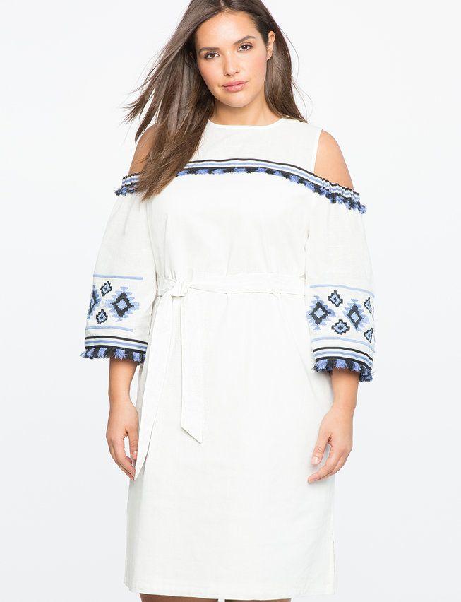 Plus Size Resort Wear Dresses Flare Cold Shoulder Dress And Cold