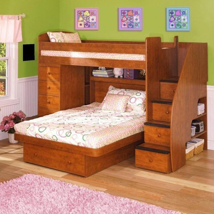 Twin Over Full Bunk Bed In Natural With Stairs Wooden L Shaped Bunk