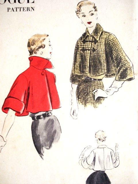 1950s ELEGANT Short Flared Jacket Pattern VOGUE 7256 Two Styles Day or Evening Easy To Make Bust 32 Vintage Sewing Pattern