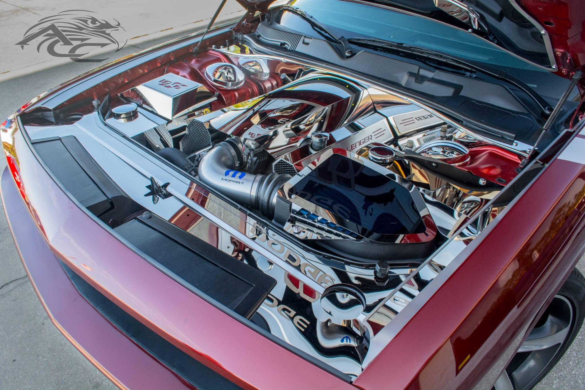 100th anniversary dodge challenger american car craft custom car show worthy engine bay  [ 2048 x 1365 Pixel ]