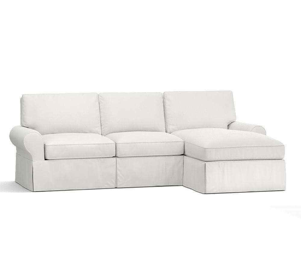 Pb Basic Slipcovered Sofa With Chaise Sectional Sectional Slipcover Slipcovers Sofa