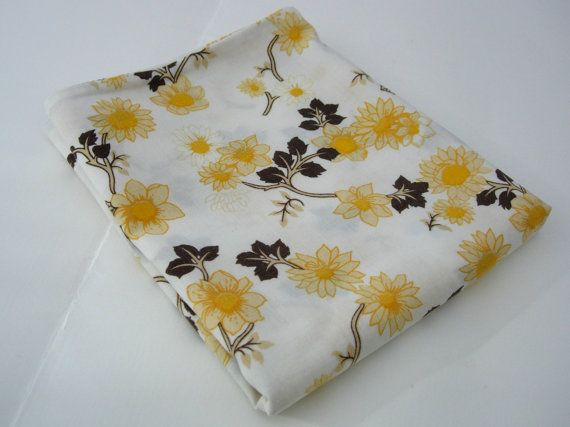 Retro Floral Pillow Case 1970s Yellow by RaggleTaggleHawker, £7.49