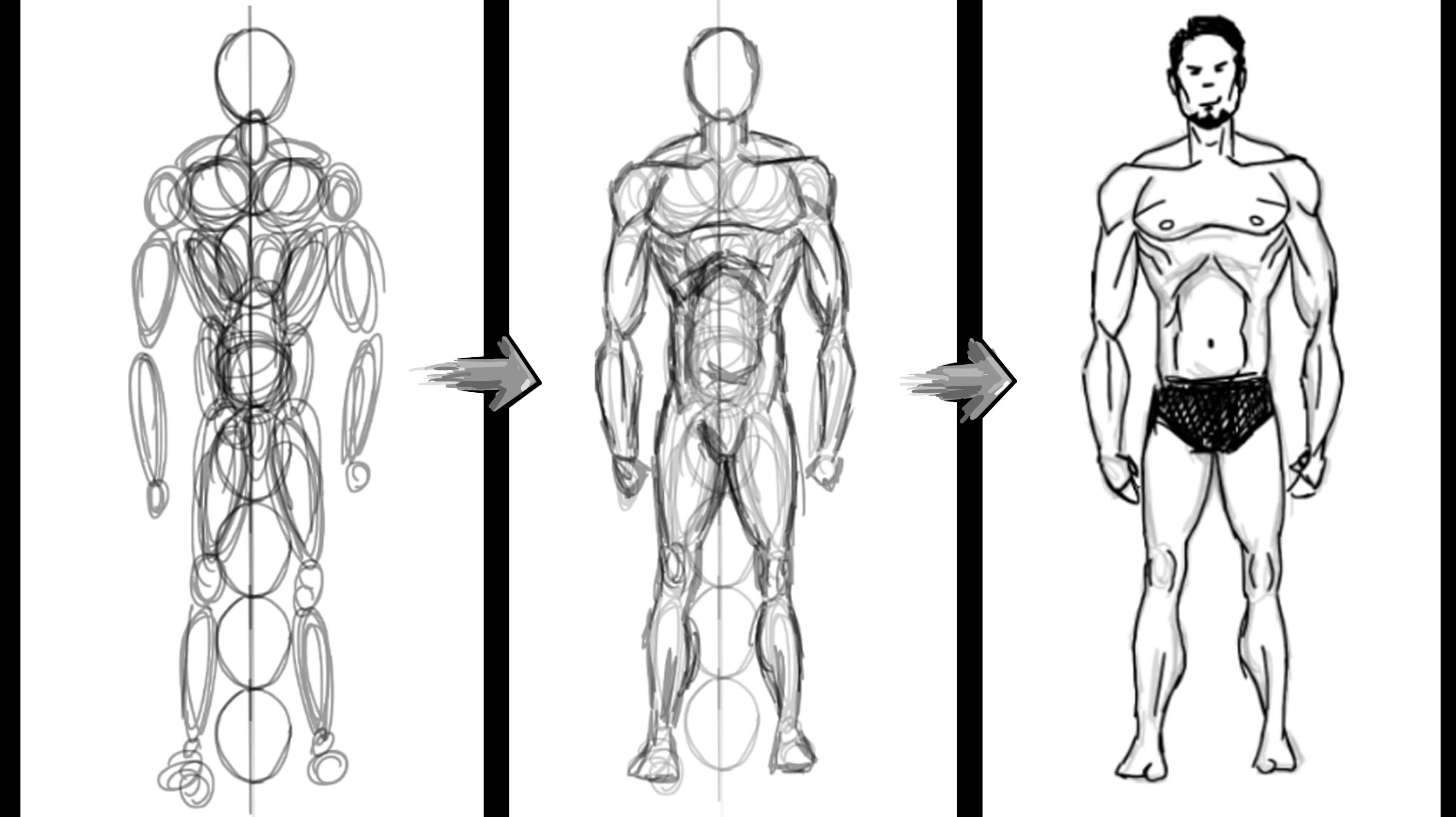 An easy and fast How-To tutorial of how to draw the basic human male ...