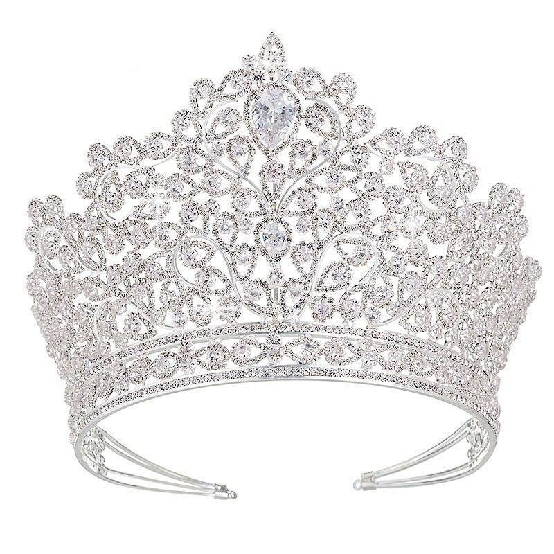 Luxury Princess Tiara Crown Bridal Wedding Pageant Crown