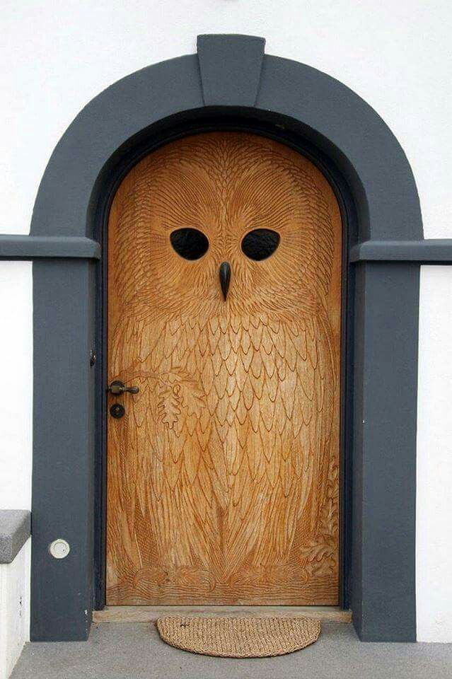 Carved owl door