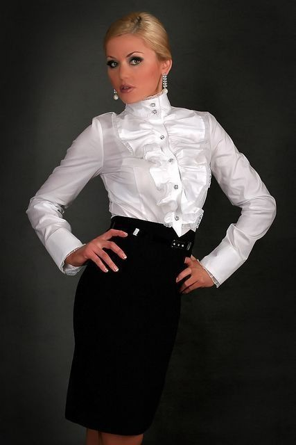 Black Belted Pencil Skirt and White Satin Blouse  16eb2c1e6