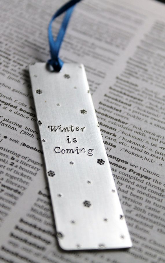 Winter is Coming - Metal Stamped Personalised Bookmark - Game of Thrones Bookmark Starks Winterfell Snowflakes