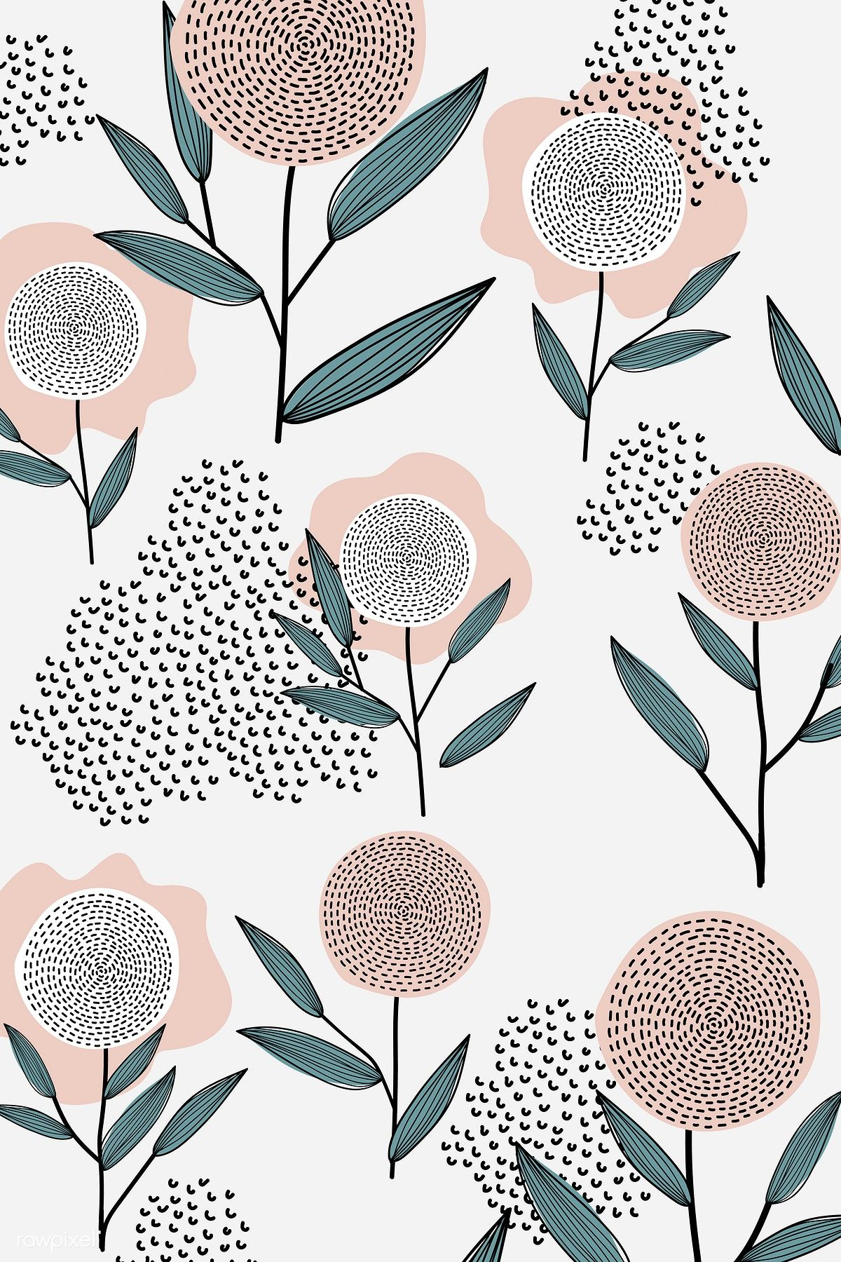 Download Premium Vector Of Flower Patterned White Background Vector 893044 Cute Patterns Wallpaper Flower Patterns Flower Pattern Design