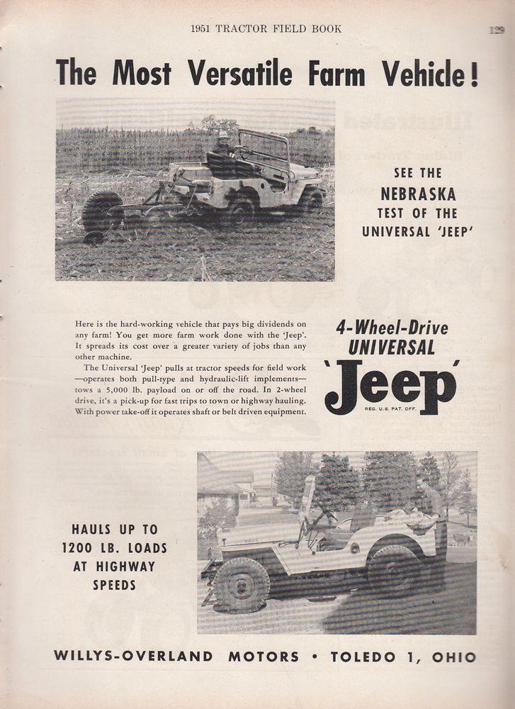 1951 Willys Overland Motors Toledo Oh Ad Universal Jeep Versatile