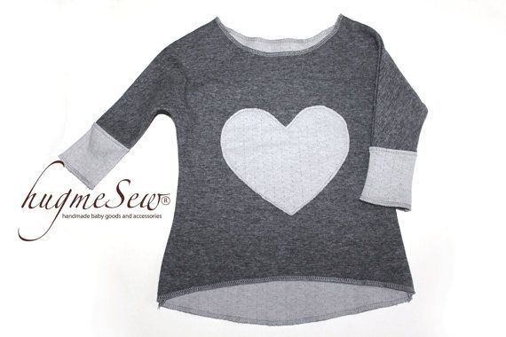 High-low charcoal tunic/top with contrasting sleeve ends and heart appliqué - modern Valentine's day outfit - baby girl top on Etsy, $21.41 CAD