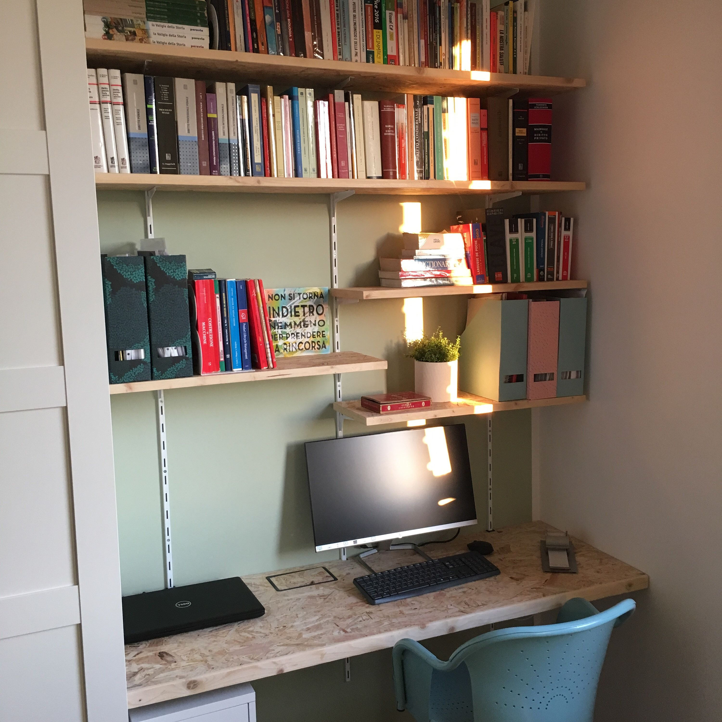 Modern OSB custom floating desk with shelves Moderna