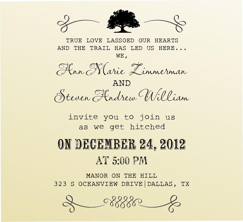 DIY Wedding invitation vintage design typewriter font rubber stamp ...