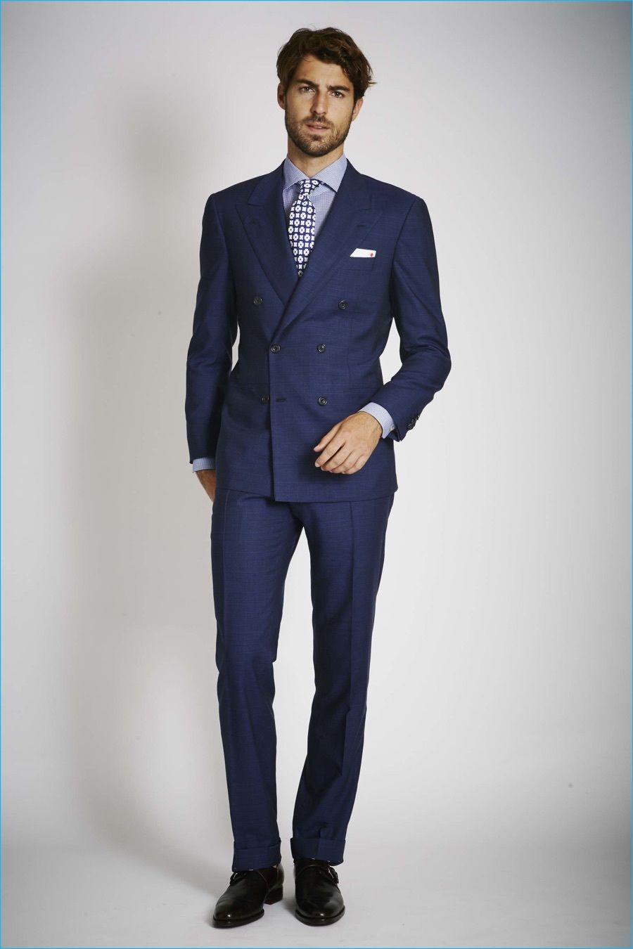Men's Navy Suit, Light Blue Dress Shirt, Black Leather Derby Shoes ...