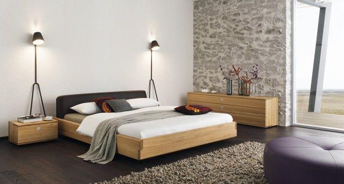 Schlafzimmer Naturholz ~ Team 7 nox bett aus edlem naturholz mit betthaupt in leder oder