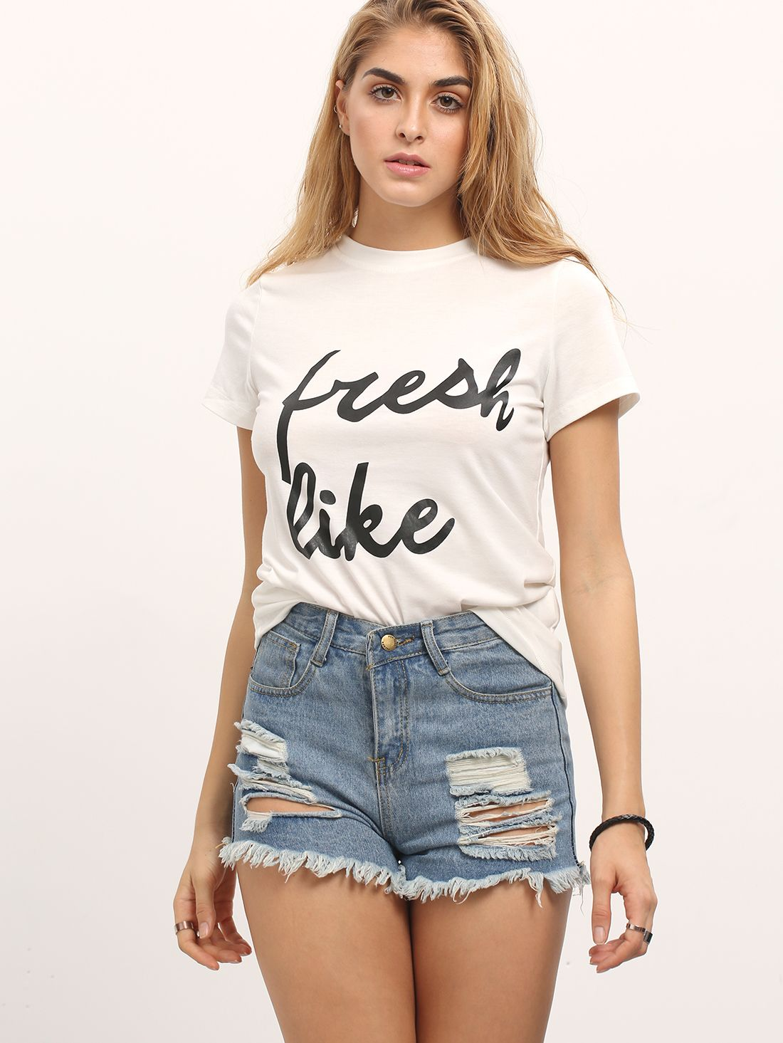 White Letter Print Casual T-shirt