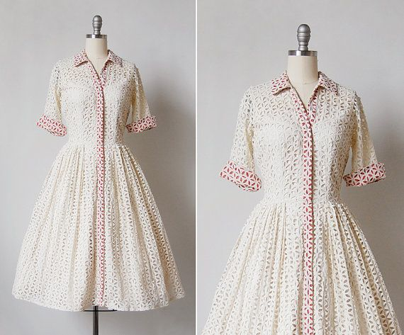 vintage 1950s dress / 50s eyelet dress / cotton by cutxpaste