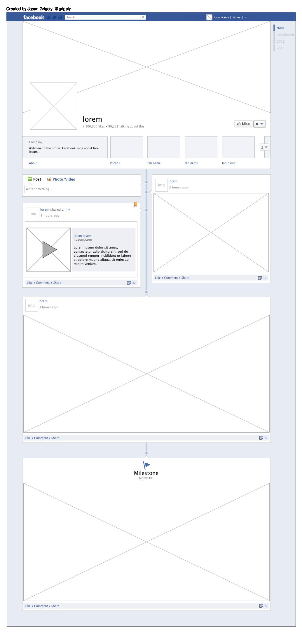 free omnigraffle wireframe facebook timeline v10 - Omnigraffle App