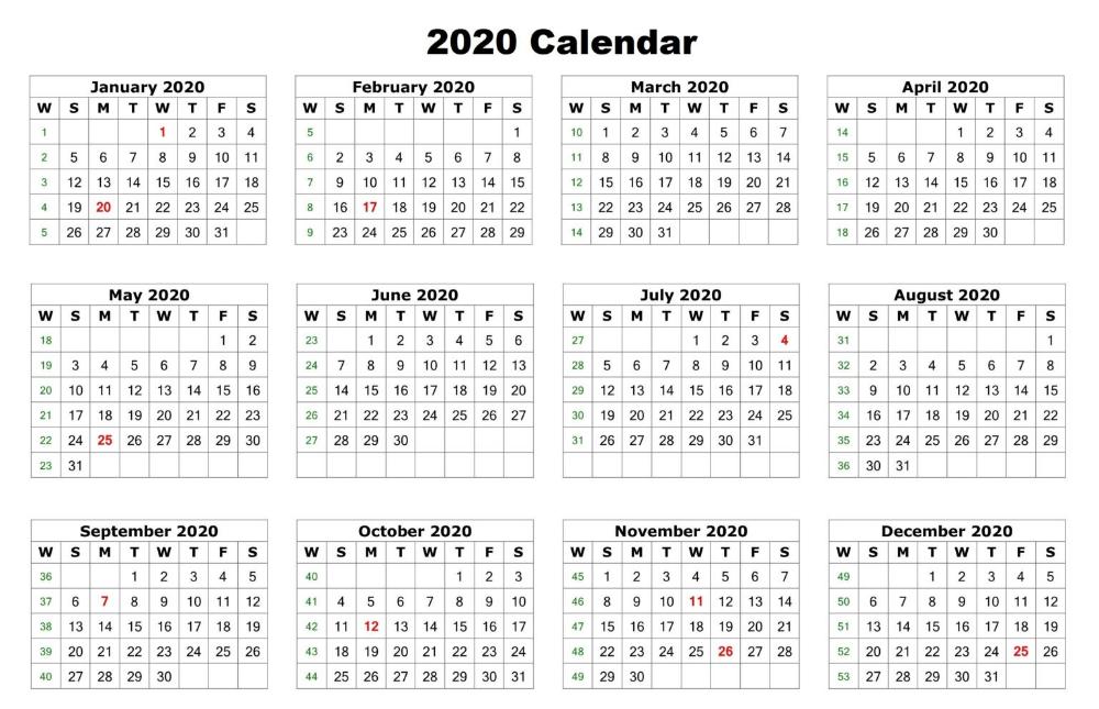 Free Printable 12 Month 2020 Calendar Template Word, Excel