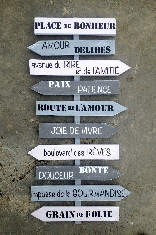 Grand panneau 10 directions personnalisable en bois de - Panneaux decoration murale ...