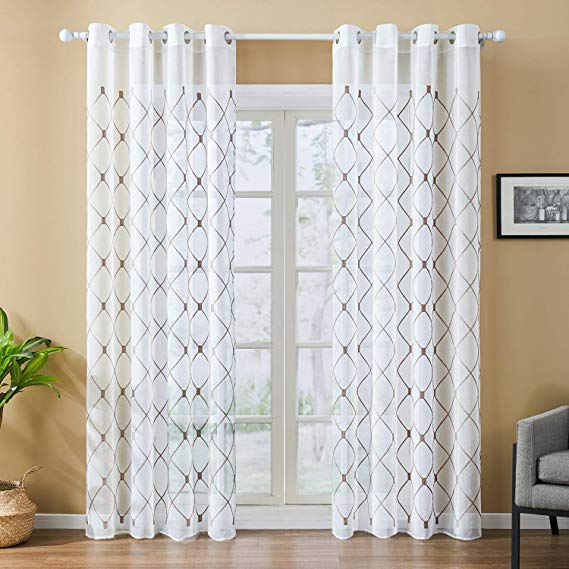 Amazon Com Top Finel White Sheer Curtains 96 Inches Long Navy