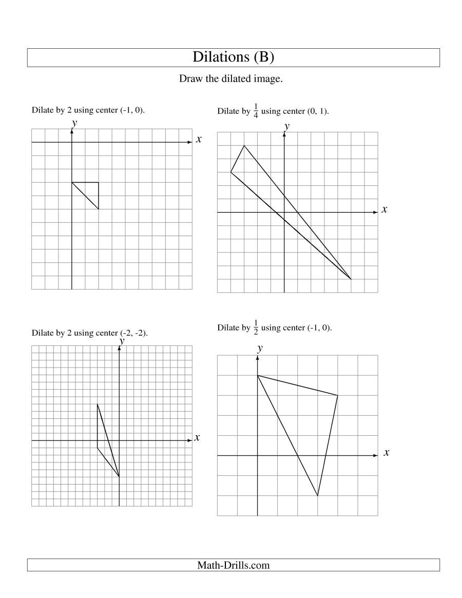 The Dilations Using Various Centers B Math Worksheet Math Worksheets Kids Math Worksheets Practices Worksheets