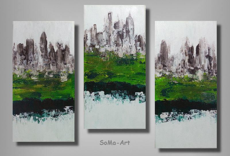 Acrylmalerei -  Acrylbilder Kleine Stadt Trio #038 - ein Designerstück von SoMa-Art bei DaWanda