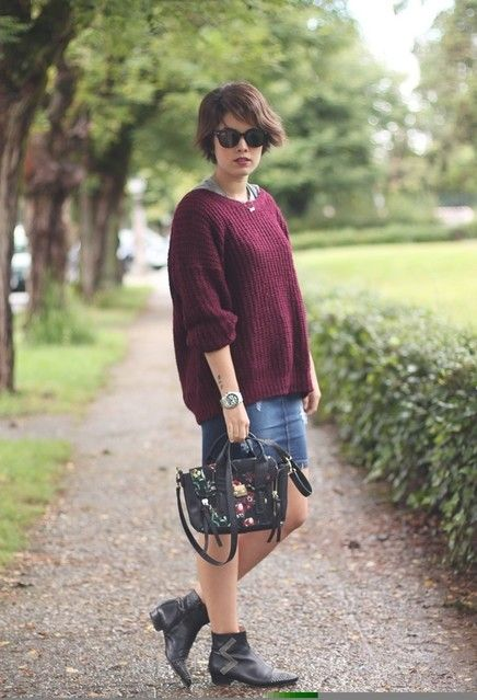 Super Stylish Fall Outfit Ideas with Sweaters | Denim skirt ...