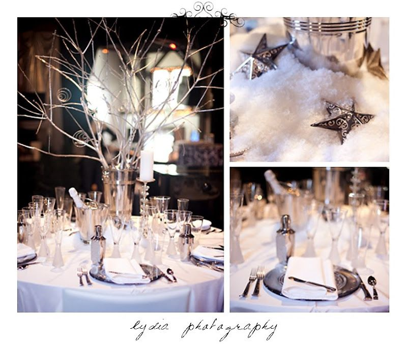White and silver winter wonderland table settings and decor at the Nevada County Wedding Expo