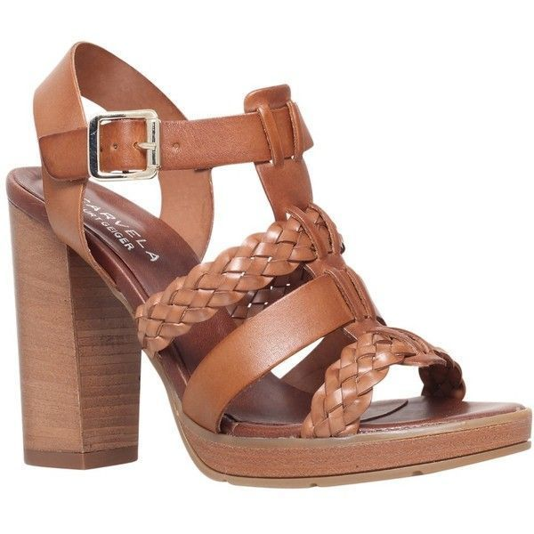 2016 Hot Sale Carvela Krill Block Heeled Sandals Women Tan Leather AJPFS53