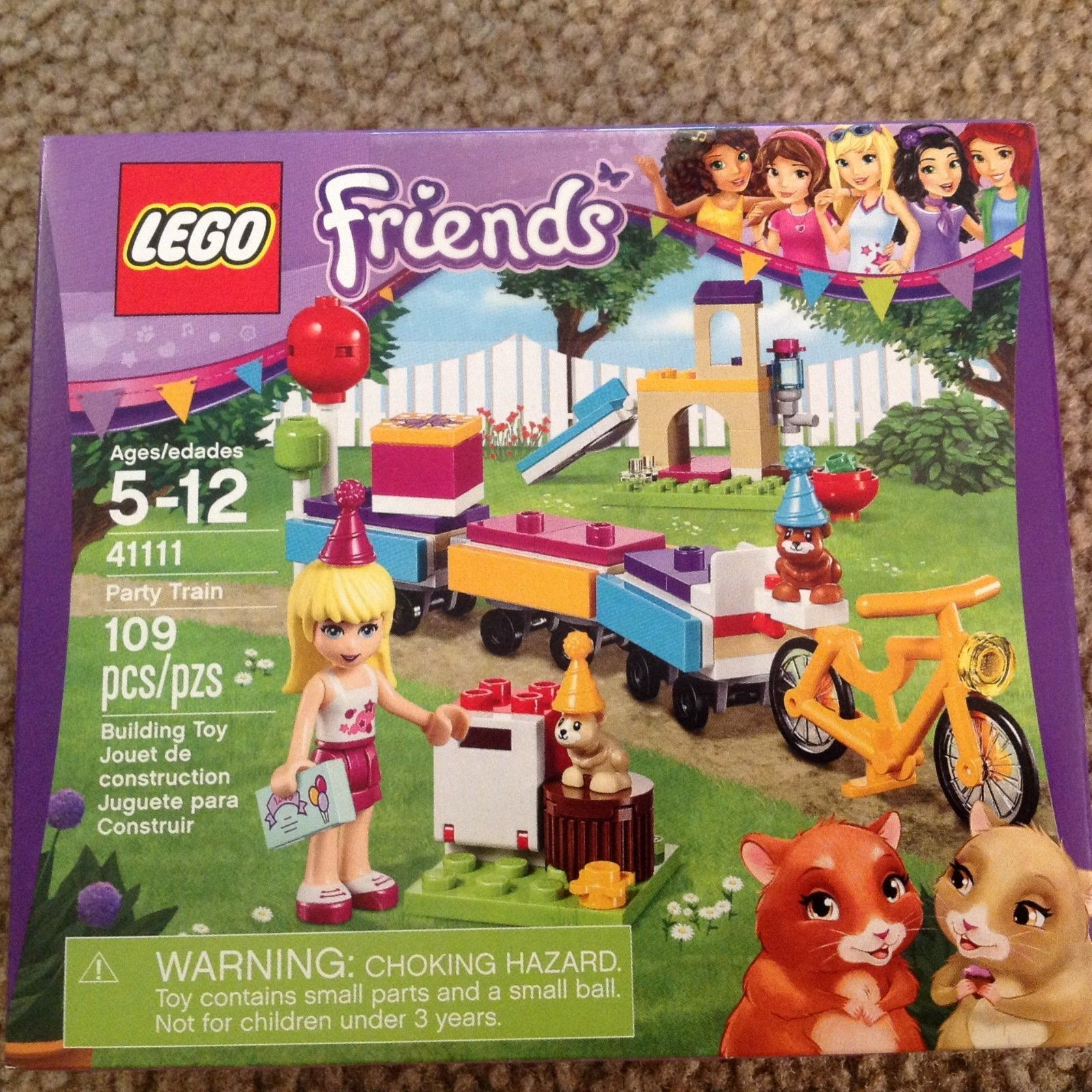 LEGO Friends Party Train Stephanie 2 hamsters bike train