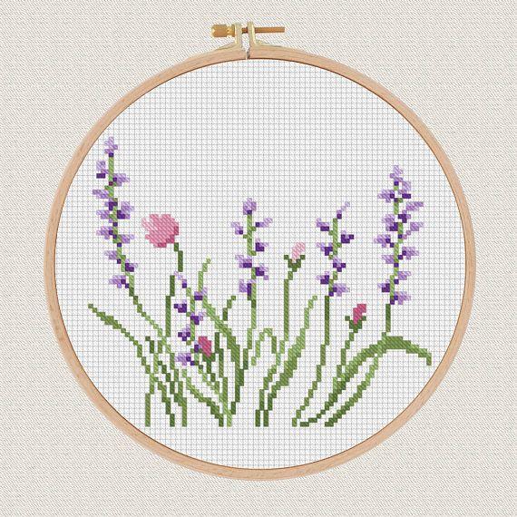 Flowers Cross Stitch pattern Lavender Helleborus floral Cross Stitch nature DIY house Living Room Decor PDF pattern beautiful gift