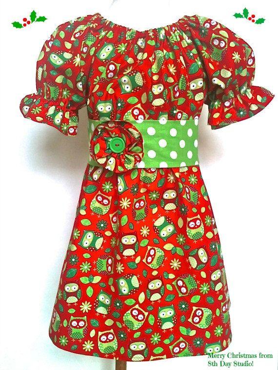551ec3401 Girls Christmas Dress, Toddlers Christmas Dress, Owl Dress, Peasant Dress  Sizes 2T -6 by 8th Day Studio