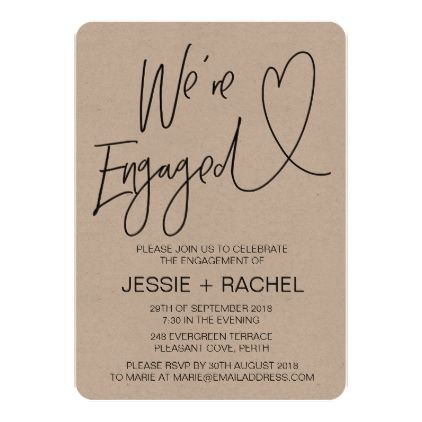 Rustic Engagement Party Invitation We're Engaged | Zazzle.com