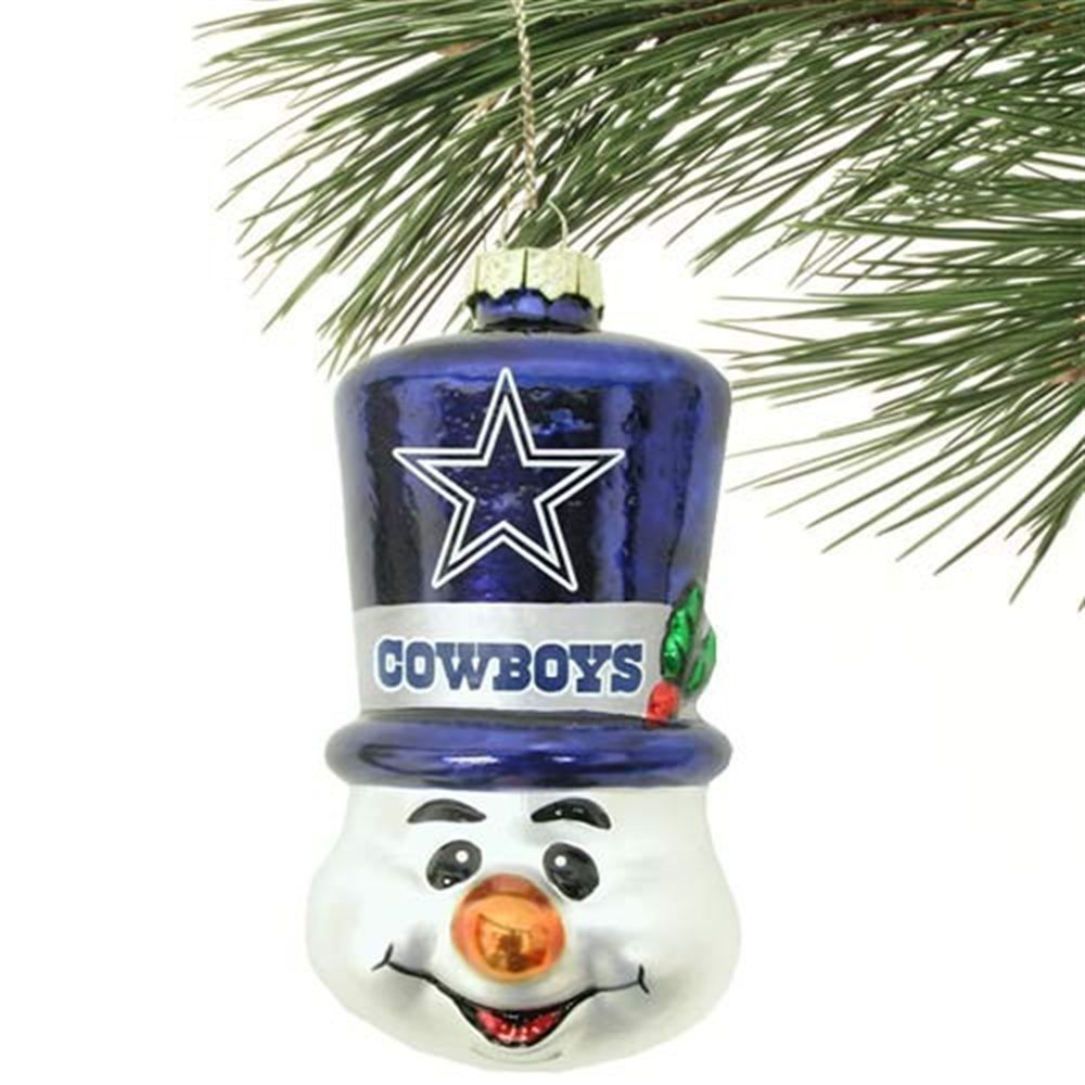 Dallas Cowboys Top Hat Snowman Blown Glass Ornament  27ba5790b