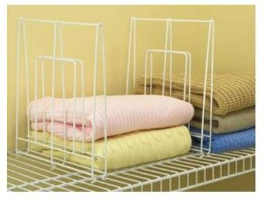 White Wire Mesh:  Keep things neat with shelf dividers.  Use to separate your shirts, sweaters, jeans and pants.