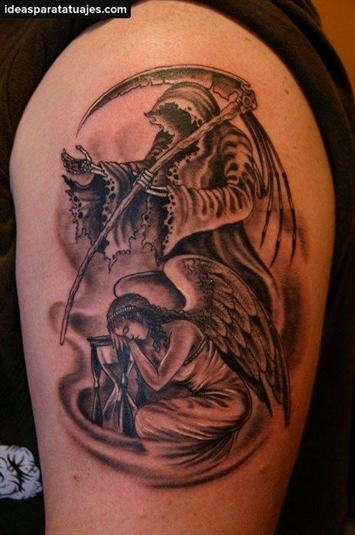Tatuajes De La Santa Muerte En El Brazo19 Tatuaje De Muerte Tatuajes De Santa Muerte Media Manga Tatuaje
