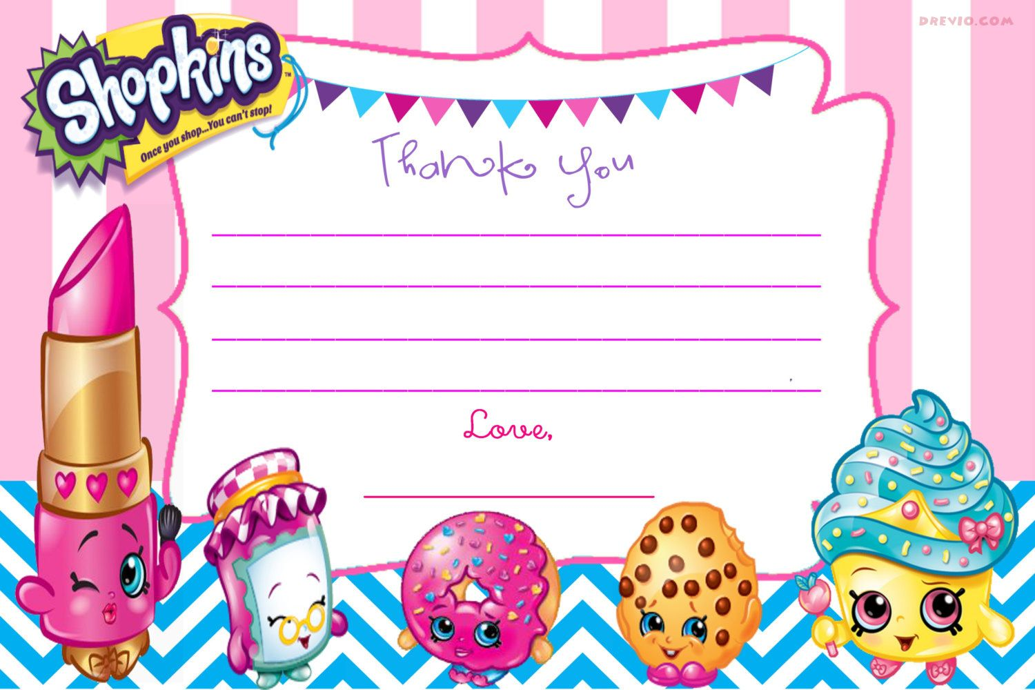 photo relating to Shopkins Printable Invitations named Current Cost-free Printable Shopkins Birthday Invitation
