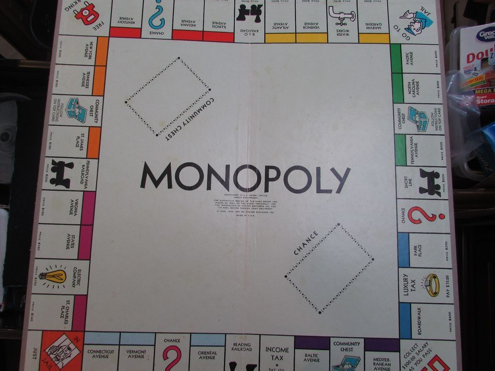 1961 Vintage Standard Edition Monopoly REPLACEMENT BOARD