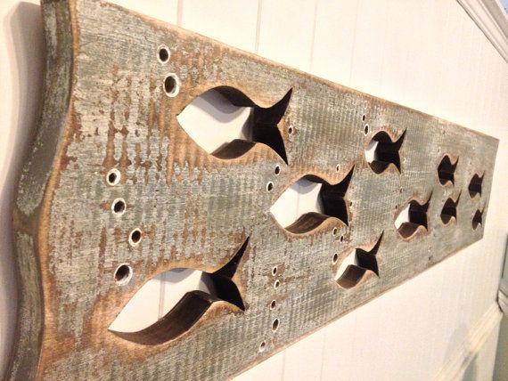Wood School Of Fish Art Sign Panel Horizontal Sea Glass Natural
