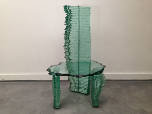 Danny Lane stacked float glass chair with steel rods circa ...