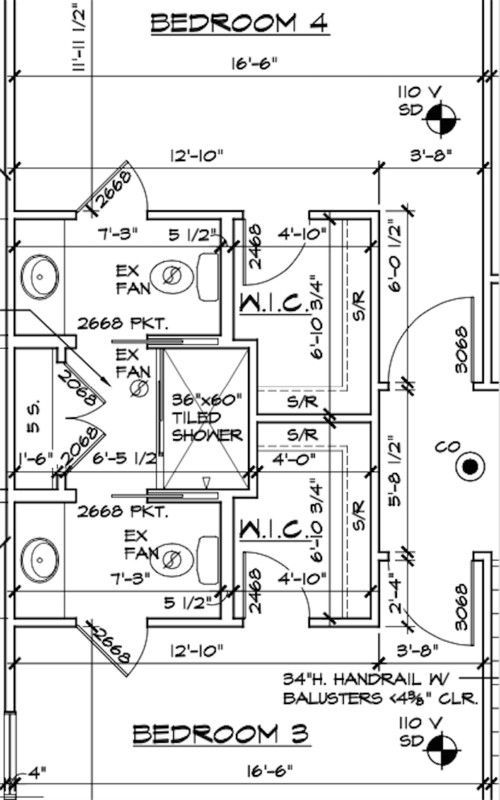 Image result for jack and jill bathroom with central shower ...
