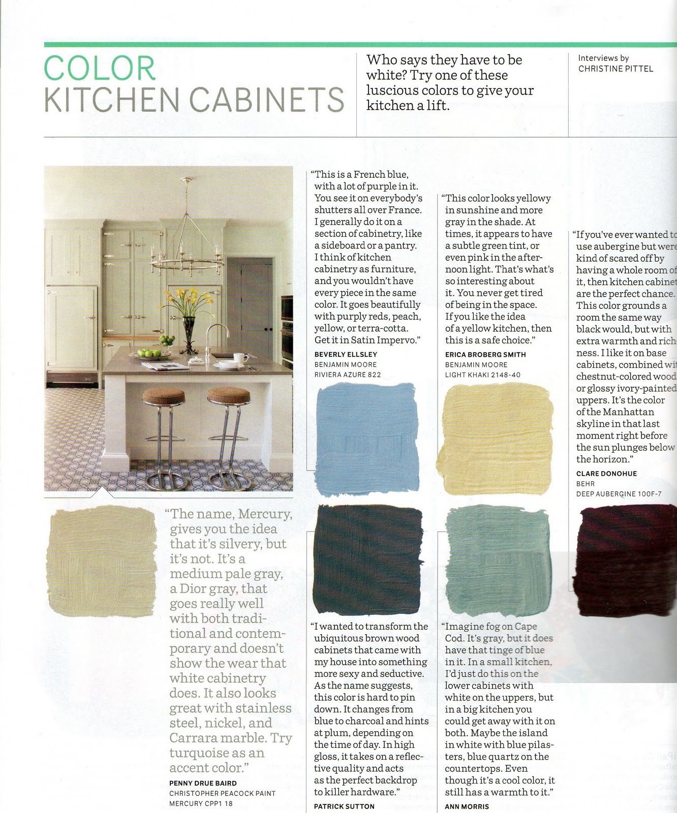 Christine Pittel paint colors, in order from left to right, top to bottom: riviera