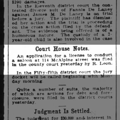 Saloon license at 114 McAlpine R Leon Houston Post 10 May 1908 pg16